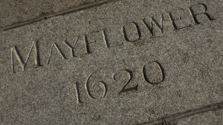 The Mayflower Steps on Plymouths historic Barbican mark the spot where the Pilgrims left Plymouth fo