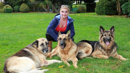Dog trainer, Jane Carmichael, with Zeus, Lance and Vince in Stockton Heath