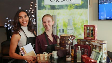 The Cottons Hotel Caudalie Spa products with Roxanne Smith and Joanna Powell