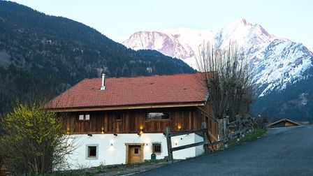 The chalet with Mont Blanc in the distance
