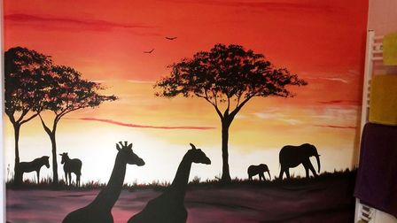 This safari scene was created for a bathroom and inspired by the travels of Joanna's client with her