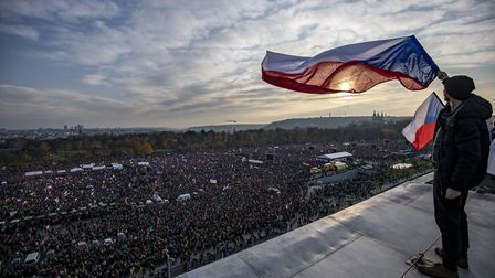 Protesters attend an anti-government protest at the Letna plain in Prague, Czech Republic (Photo by