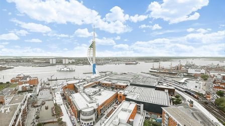 Views of Spinnaker Tower and Portsmouth Harbour from No1 Gunwharf Quays