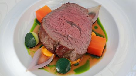 Treacle Cured Celtic Pride Fillet of Beef, Pickled Cabbage, Anise Carrot, Pickled Shallot, Rowton Ha