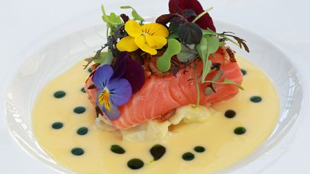 Home Smoked Loch Duart Salmon, Pickled Fennel, Lemongrass Butter Sauce, Puffed Wild Rice, Rowton Hal
