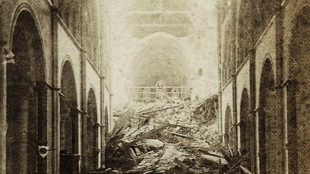 Inside Chichester Cathedral following the spire collapse