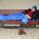 Former TV presenter Ed Mitchell homeless and living on a bench in Hove in 2007 (Photo by Southern Ne