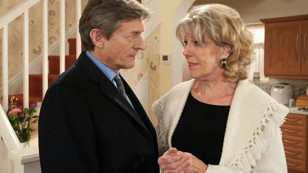 Nigel Havers as Lewis Archer with Sue Nicholls as Audrey Roberts in Coronation Street (c) ITV Pictur