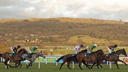 UNOWHATIMEANHARRY (2nd right, Barry Geraghty) with KNOCKARA BEAU (right) on his way to winning The g