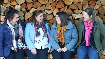 Katie Hall, the National Vice Chair of the Young Farmers (2nd left) with friends Steph Watkins, Caro