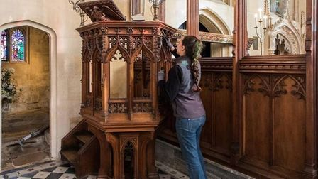 Cleaning and waxing the woodwork in the church is a lengthy process