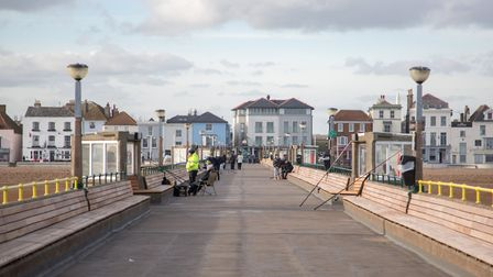 A view of the town from Deal Pier, at the end of which The Deal Pier Kitchen opened this January (ph