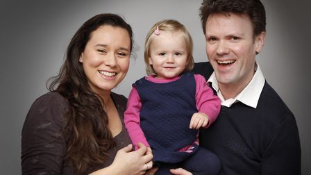 Tom Wakefield with his wife Rowena and their daughter Ariya
