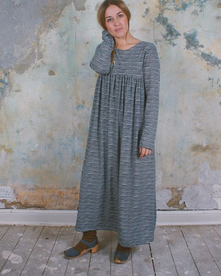 """Relaxed soft viscose jersey Frida dress with a """"wobbly black and blue stripe"""""""