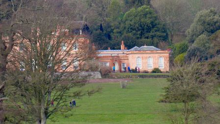 View from Broadley Coppice to Killerton House with its recently re-built chimneys