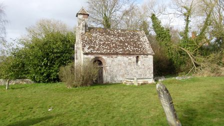 The tiny chapel at Columbjohn which used to serve the Acland family