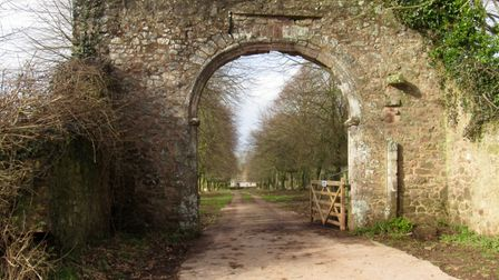 The mighty gateway that was the entrance to a long-gone Acland mansion