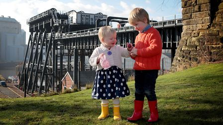 Maggie Hall, one and brother Louis, three are looking forward to the Anderton Boat Lift Easter Egg H