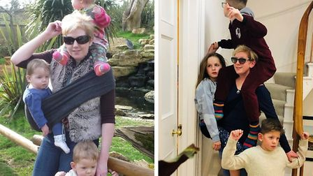 Clare and her family, ten years ago, and now