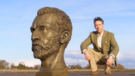 Sculptor Anthony Padgett with his bust of Vincent van Gogh, now in Spencer Square, Ramsgate