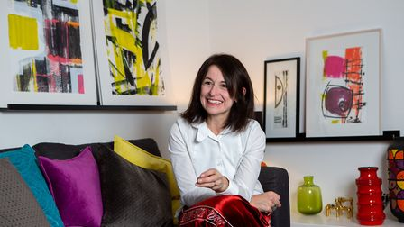 Tinas light stylish home is filled with art