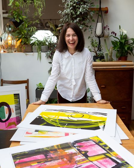 Tina Kypriadis with some of her work