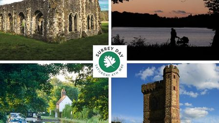 From top left clockwise: Waverley Abbey (photo by Andy Newbold)   Virginia Water Lake (photo by Andy