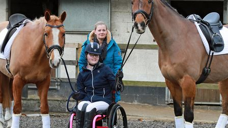 Caitlyn and mum, Alison, with horses, Roko and Remy