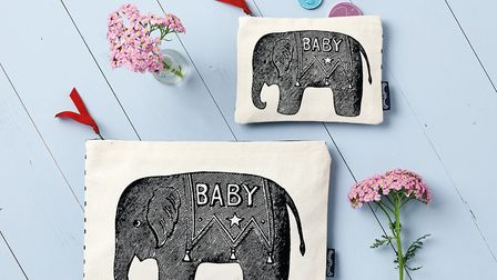 Chase and Wonder - Screen printed wash bag & Purse- Baby Elephant