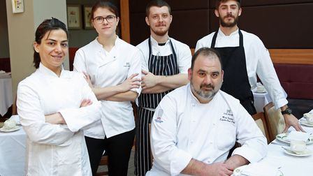 Exec Chef, Mark Fletcher (seated) with his team; Zahra Mohammadi, Rebecca Rault, Rafal Dziewonski an