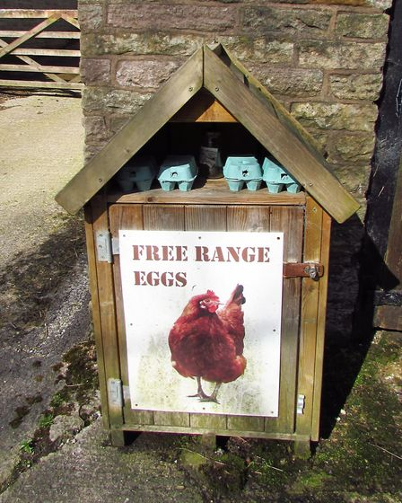 Eggs and an honesty box, near Leather's Smithy