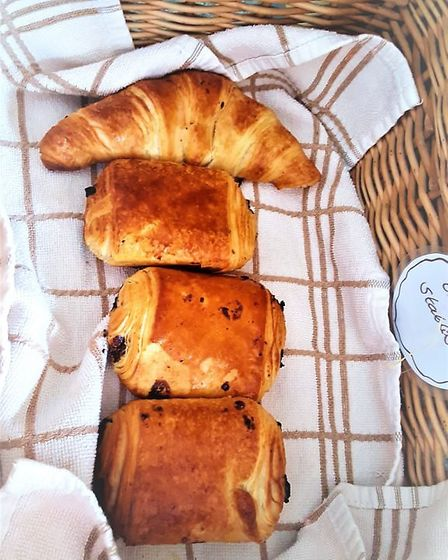 For breakfast there is a selection of warm breads and pastries