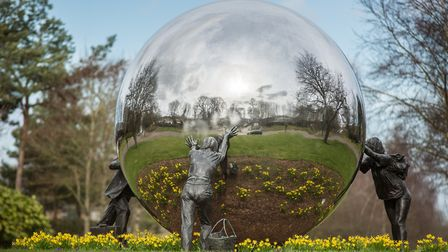 The sculpture A Different Ball Game by Kevin Atherton consists of a 10ft diameter reflective ball be