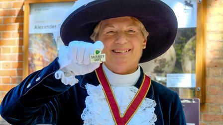 The new High Sheriff of Surrey, Bridget Biddell shows her support for Surrey Day (Photo by Andy Newb