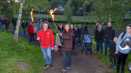 The procession to the beacon lighting (Photo by Andy Newbold)