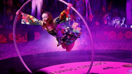 Moments from the 70's themed Xanadu circus show (c) Andrew Higgins/TWM