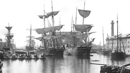Ships in the main basin, Gloucester Docks, 1883. Picture courtesy GHURCH