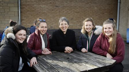 Jo Price, Vice Chancellor at the Royal Agricultural University in Cirencester, with students Florenc