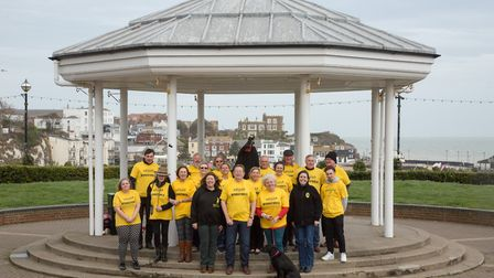 Jo Tuffs, festival director of Broadstairs Folk Week, pictured with her team at the bandstand (photo