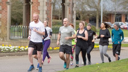 Kieron Fosher in Kings Hill leads members of the RIOT'ers (Running Is Our Therapy) in a run around i