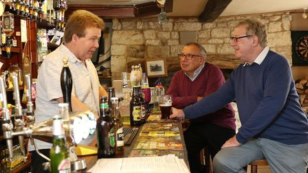 Maurice Gran and Laurence Marks at the bar of their favorite pub The Fox at Barrington