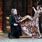 Pearce Quigley as Falstaff and Bryony Hannah as Mistress Ford in The Marry Wives of Windsor at Shake