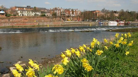 Chester viewed across the river Dee from Handforth
