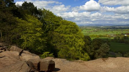 View of the countryside from the rocky sandstone escarpment of Alderley Edge (c) National Trust