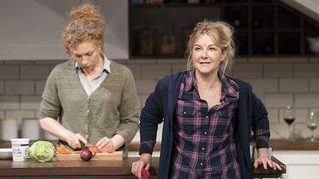 Sherrie (Alex Kingston ) and Ginnie (Sarah Hadland) in Admissions Credit: Johan Persson