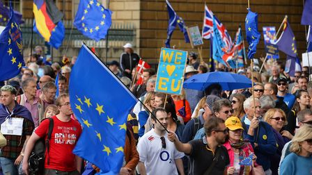 Protesters set off from at Hyde Park Corner during a pro-EU march. Photograph: John Stillwell/PA.