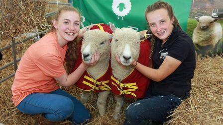 Jess McCully and Charlotte Fleet and their Ryelands Sheep Polly and Dolly from Raby, Wirral