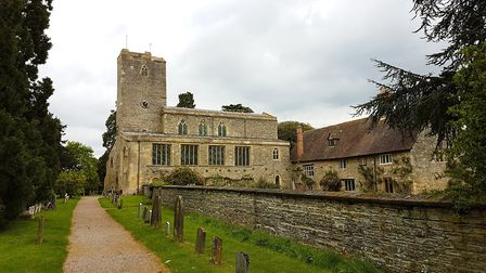 St Mary's, Deerhurst and the beautiful Priory Farmhouse, once part of the monastic buildings of the