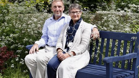 Lady Delia Thornton, with her husband Air Marshal(Retired) Sir Barry in the garden of their home nea