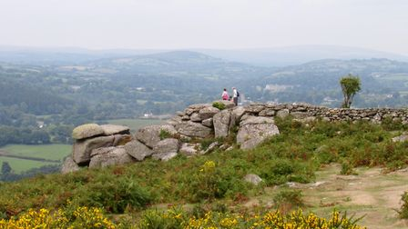 The craggy outcrop of Hunter's Tor is a superb viewpoint
